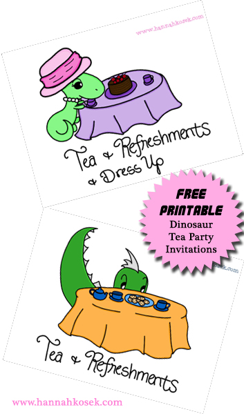 Dinosaur Tea Party Invitations